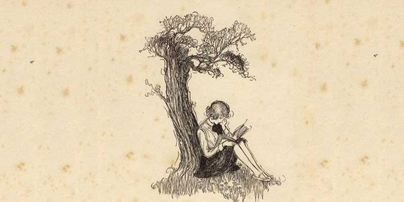 old drawing of girl reading